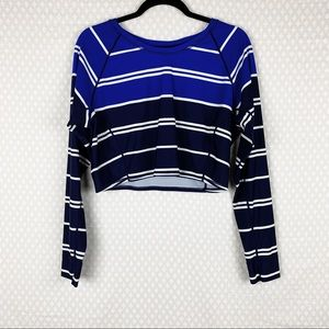 Athleta | blue striped cropped swim top